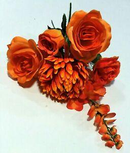 """Mixed Large Blooms 6-Stem 14"""" Bush Faux Silk Flower Vase Home Decors US BP2052"""