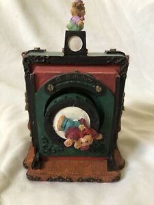 Vintage Antique Camera with Moving Bears Music Musical Box It's a Small World
