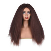 Long Synthetic Yaki Kinky Straight Wigs  for Black Women Afro Puff Wigs 6 Colors