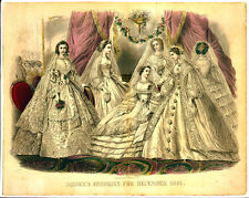 Edwardian Vintage Ladies Wedding portrait Art Print 10x8 fashion shabby chic