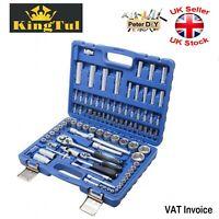 "94 pcs Ratchet Socket Set 1/2"" 1/4"" Tools Toolbox CrV Steel KINGTOOL KT-94"