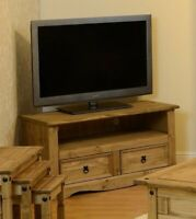 Corona Solid Pine TV Stand Unit Rustic Drawers Shelf Wooden Living Room Mexican