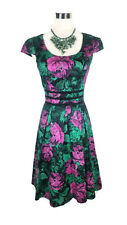 REVIEW Dress - Floral Rose Print Black Pink Green Vintage A-Line Cap Pleated - 6