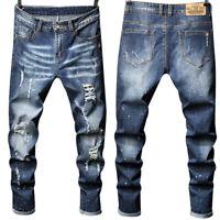 Mens Skinny Stretch Ripped Jeans Slim Fit Flex Denim Trousers Pants Destroy USA