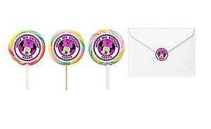 30 Minnie Mouse Birthday Stickers Lollipop Labels Party Favors 1.5 in HOT PINK