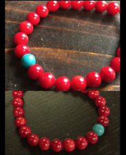 "Blue Turquoise Red Coral Healing Stone Stretch Bracelet sz 7.5 "" for Men  Woman"