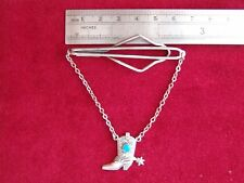 Sterling Silver Vintage Cowboy Boot & Spur with Blue Turquoise Stone Tie Clasp