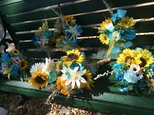 Wedding flowers bridal bouquets decorations sunflowers teal turquoise 7 bouquet