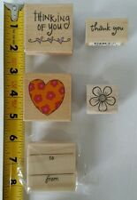 Lot of 5 Miscellaneous Stamps Flower Heart Thank You Thinking of You Wood Mount
