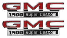 1971-1972 GMC Pick Up Truck Front Fender Emblem 1500 Super Custom Pair