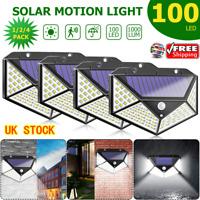 1/2/4PC 100 LED Solar Power PIR Motion Sensor Wall Light Garden Lamp Waterproof