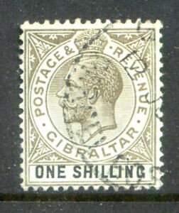 Gibraltar King George 5th 1912 1sh emerald surface used(202101/13#01)