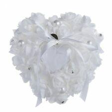 Ring Pillow Rhinestone Ribbon Heart Design Rose Flower Wedding Cushion Bearer