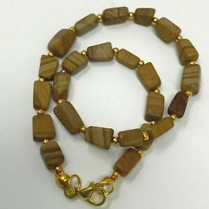 """Handmade Anklet Brown Jasper Nugget Beads with Gold Tone Spacers 10.25"""" Long"""