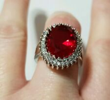 LADIES LARGE 925 STERLING SILVER RUBY AND SAPPHIRE RING SIZE M uk