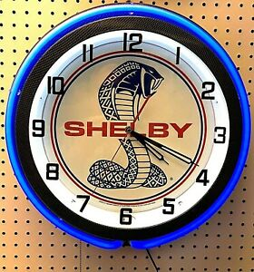 "18"" Blue SHELBY Snake Double Neon Carbon Fiber Like Clock Cobra Mustang"