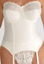Pearl Ivory Underwired Basque 32D Multiway Suspenders Silhouette Paysanne