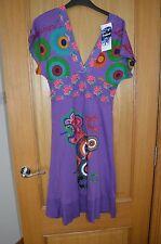 Desigual Purple & Pink Short Sleeve V Dress Knee Length M Medium 10 - 12