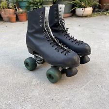 vintage riedell womens black leather roller skates size 7