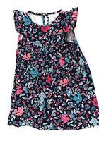 Oshkosh Girls Tunic Floral Ruffle Sleeveless Dress Sz 10 Coral Pink Blue Navy
