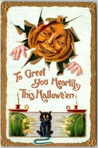 "1910 HALLOWEEN Embossed Postcard JOL Cat ""To Greet You Heartily"" GOTTSCHALK 2040"