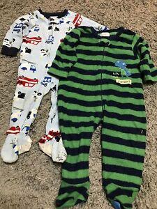 2x Fleece Baby Boy Baby grow/ Zip Up Sleepsuits, 1x 12months and 1x 12-18months.