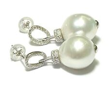 Oval Drop 11.6 x 12.8mm Natural Silver White Indonesia South Sea Pearl Earrings