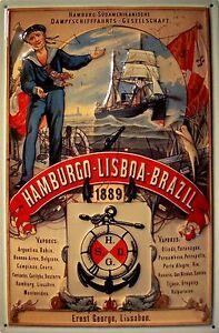 Dampfschiff Hamburg Lissabon Blechschild Schild 3D geprägt Tin Sign 20 x 30 cm