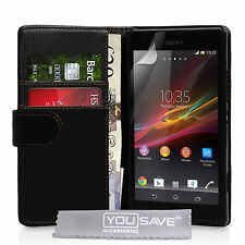 New Black PU Leather Magnetic Wallet Phone Case Cover Pouch for Sony Xperia SP