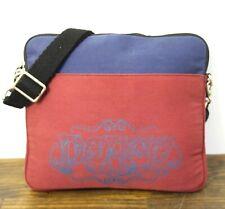 LUCKY BRAND BLUE DARK RED PRINTED CANVAS LAPTOP CROSS BODY PURSE SHOULDER BAG