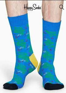 Happy Socks, snake design, blue/yellow/green size 41-46 (UK 7-11). Pack of 2.