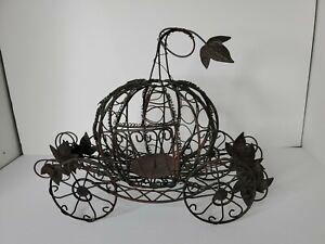 "CINDERELLA PUMPKIN METAL WIRE CARRIAGE LARGE CENTERPIECE CANDLE HOLDER - 16""×12"""
