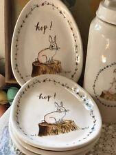 Rae Dunn for Magenta Hop Easter Bunny Spring Egg Shaped Plates Set of 4 Rare!