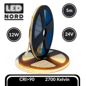 LED Neu COB Streifen Warmweiß Streifen Licht 24V Band 2700K 12W/m Stripe 5m IP20