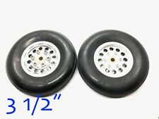 """1 Pair 3.5"""" 3 1/2"""" CNC Aluminum Hub Rubber Wheel for RC Airplanes (US Seller)"""