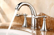 Polished Chrome Widespread Bathroom Sink Faucet 3 Hole Basin Mixer Tap mnf083