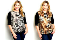 Essential Women's Tunic Top Glitter-Animal-Print Plus Size 1XL~2XL~3XL