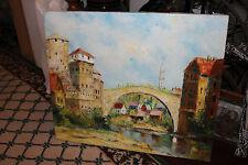 Impressionist Oil Painting-European Village Bridge Houses Buildings-Signed-LQQK