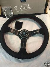 Universal Nardi Style 350mm Suede Flat Weaved Steering Wheel w/ Black Spoke