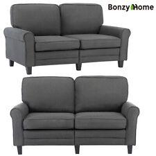 Futon Sleeper Sofa Bed Loveseat Couch Ergonomic Padded 2-Seater Soft Fabric Gray