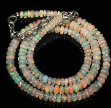 """49 Carat 16"""" 4 to 5 mm Natural Ethiopian Welo Fire Opal Beads Necklace -EB88405"""