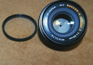 Minolta MC ROKKOR-X PF 50mm F1:2 Lens – Minolta Mount UV Filter Excellent