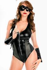 Valentines Womens Black Lingerie Wet Look Punk Strippers Clubwear Basque Corset