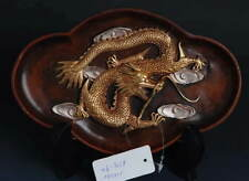 Beautiful Copper Semi-gilt Dragon pattern Plate! Ethnic