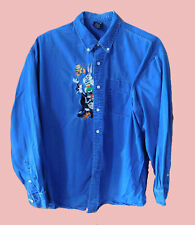 90's Vintage Men's LOONEY TUNES Denim Chambray Embroidered Long Sleeve Shirt