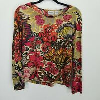 Chicos 1 Medium abstract floral knit top womens 3/4 sleeve round neck colorful