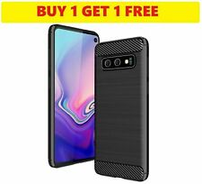[2FOR1] Samsung Galaxy S10 Gel Case Silicone Black Phone Cover Carbon Fibre UK