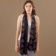 Black Paisley Scarf Large White Print Shimmer Transparent Shawl Wrap Scarf Soft