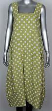 Ladies Italian Lagenlook Polka Dot Sleeveless Long 2 Pocket Linen Tunic Dress