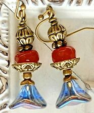 Etched Bronze, Ruby Red Jade & Blue Luster Czech Glass Bell Flower Earrings.